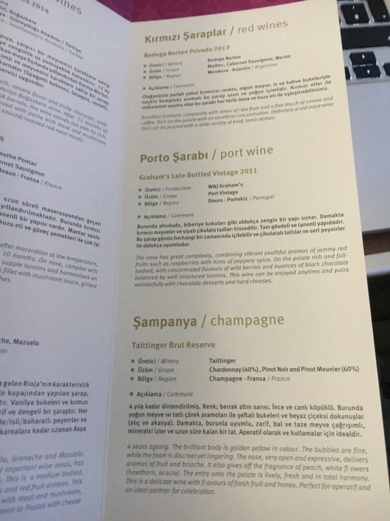 Turkish Airlines Business Class Weinkarte