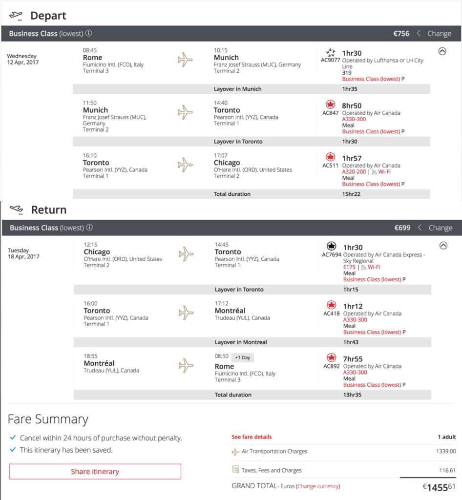 Flüge mit Air Canada in die USA