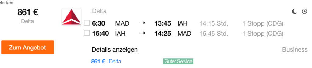 SkyTeam Business Class Sale in die USA
