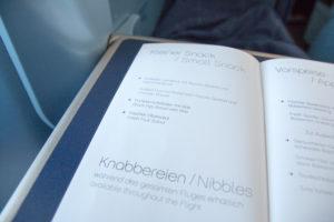 airberlin Business Class Menükarte