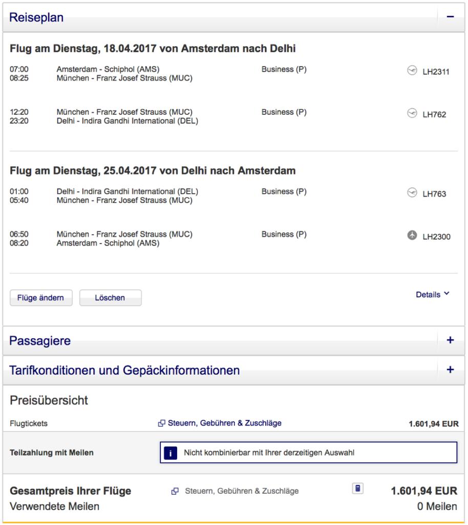 Lufthansa Business Class nach Indien