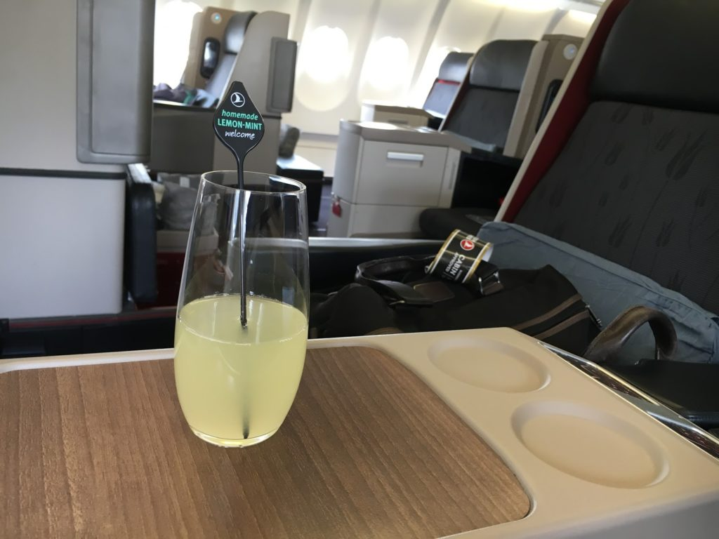 Turkish Airlines Business Class A330 Welcome Drink