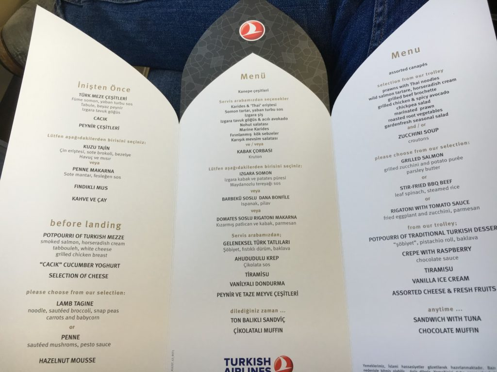 Turkish Airlines Business Class Speisekarte