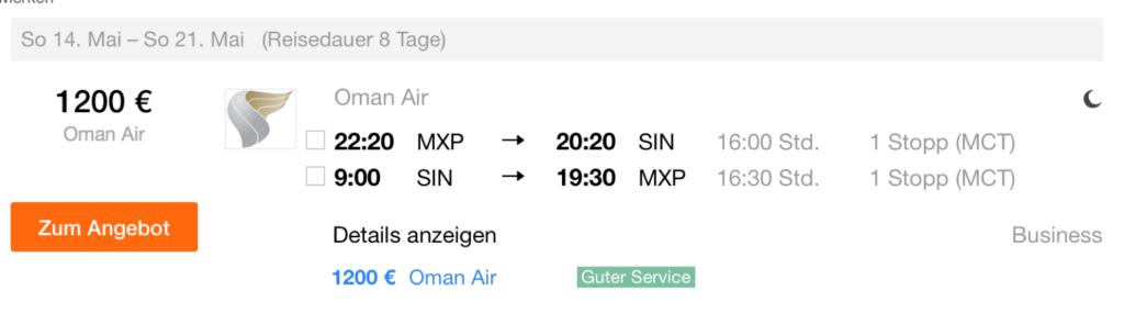 Oman Air Business Class Sale nach Singapur