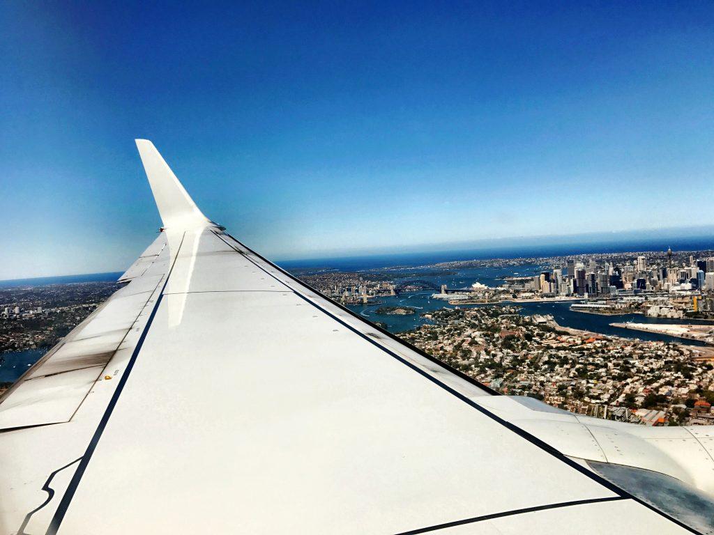Qantas Economy Class Ausblick bei Landung