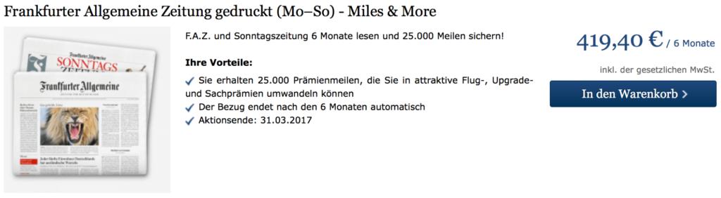 25.000 Miles & More Meilen mit der FAZ sammeln