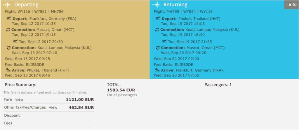Oman Air Business Class Flüge nach Asien