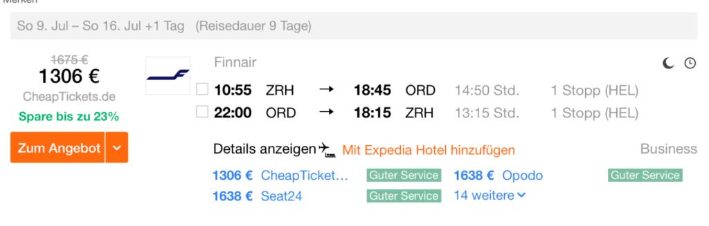 Günstige Business Class Flüge in die USA ab der Schweiz
