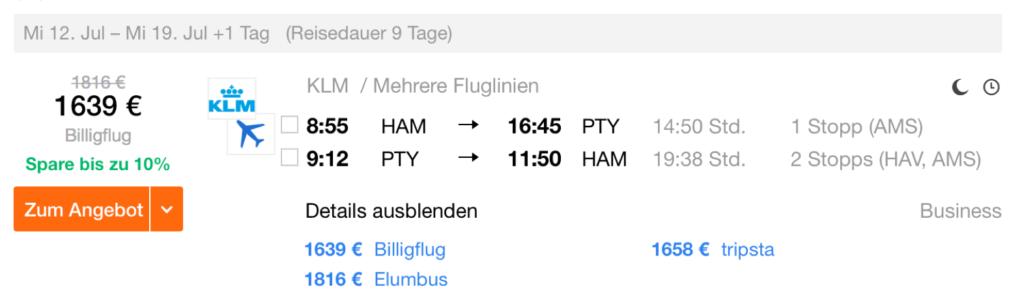 KLM Business Class nach Panama City