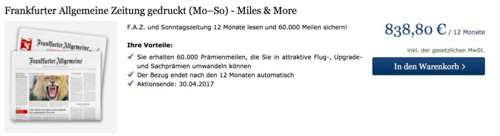 Miles & More Prämienmeilen mit der FAZ sammeln