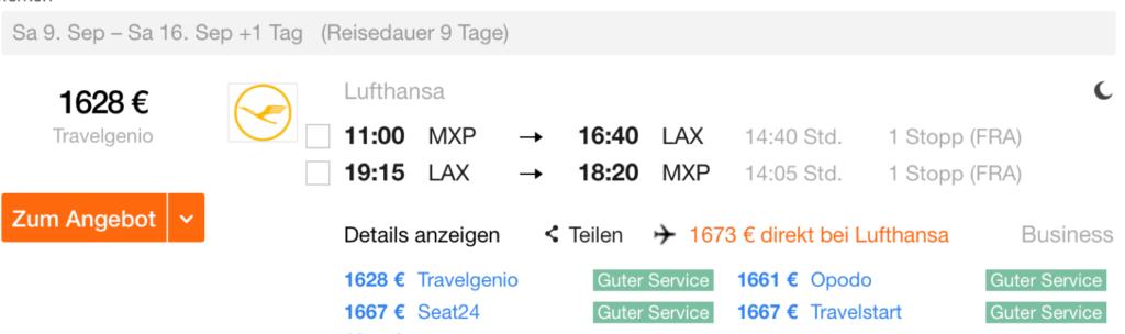 Günstig Lufthansa Business Class an die US-Westküste