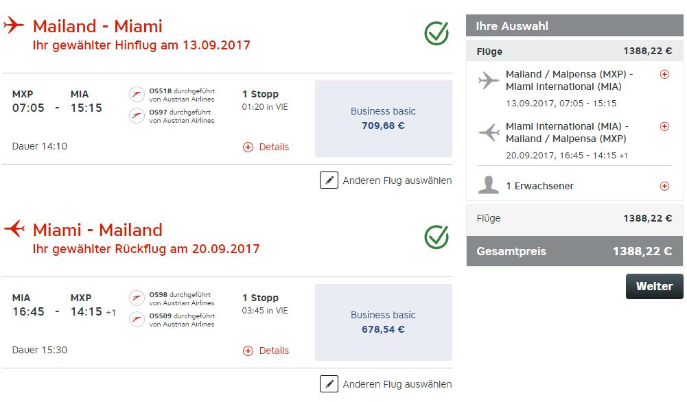 Günstig Austrian Airlines Business Class nach Miami fliegen