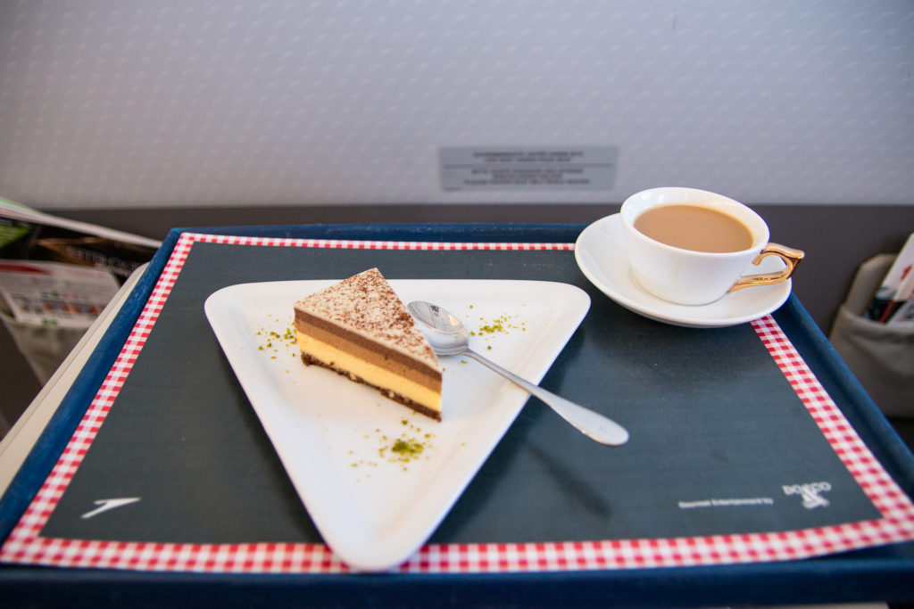 Kuchen in der Austrian Airlines Business Class