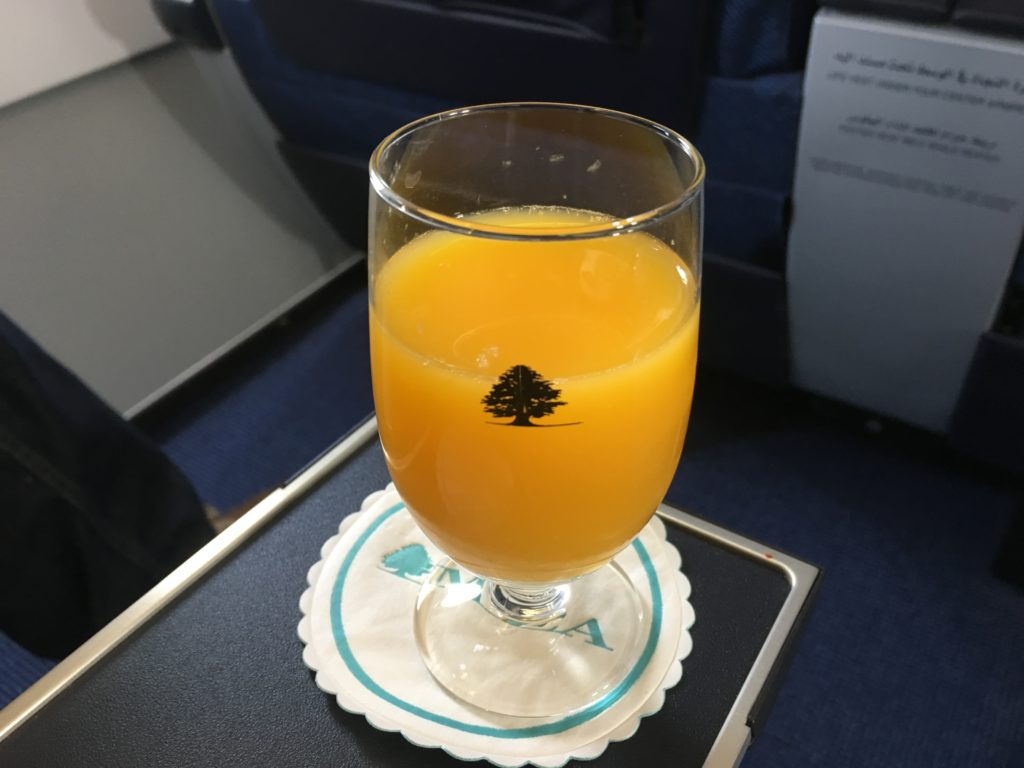 Middle East Airlines Business Class Welcome Drink