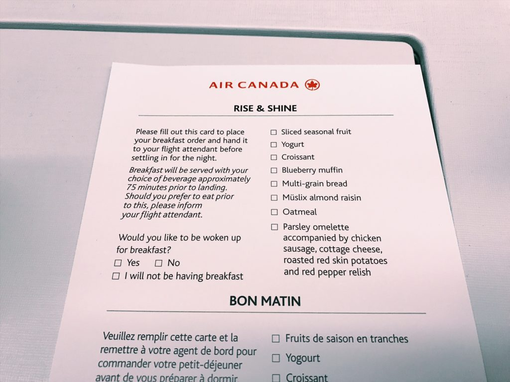 Air Canada Boeing 777 Business Class Frühstückskarte