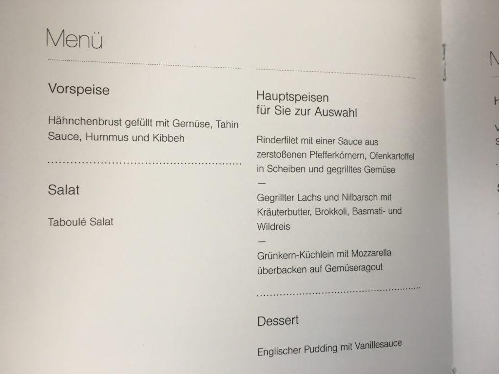 Lufthansa Business Class Mittelstrecke Menü