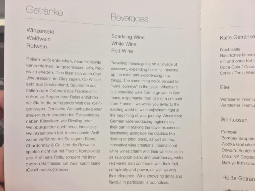 Lufthansa Business Class Mittelstrecke Getränke
