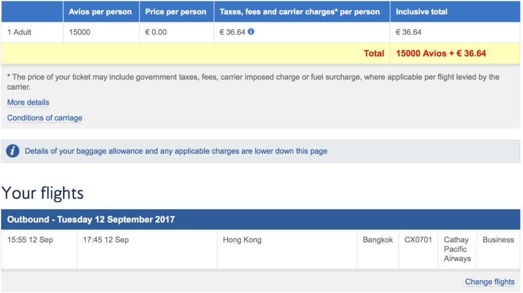British Airways Avios einlösen