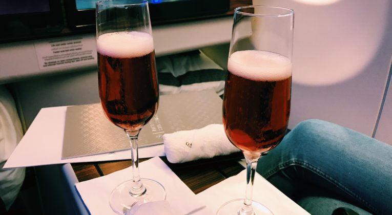 Qatar Airways Business Class Airbus A330 Welcome Drink