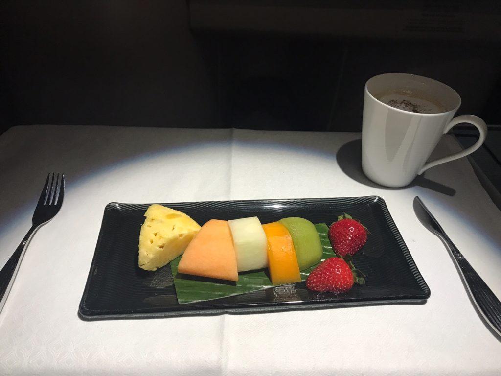 Qatar Airways Business Class Airbus A330 Frühstück