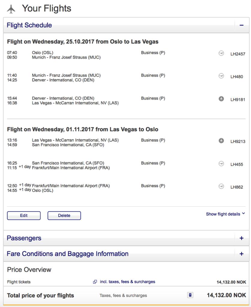 Lufthansa Business Class nach Las Vegas