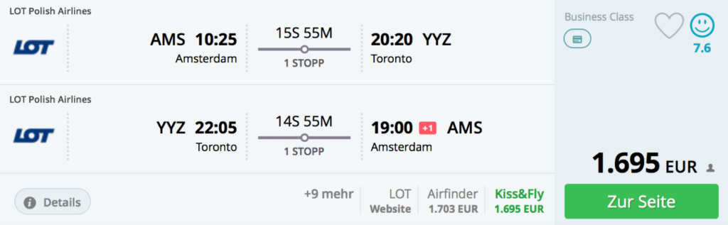 LOT Business Class nach Amsterdam