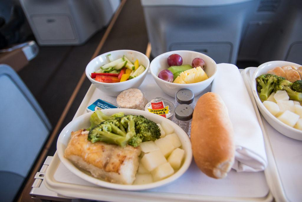 South African Airways Business Class Mittagessen