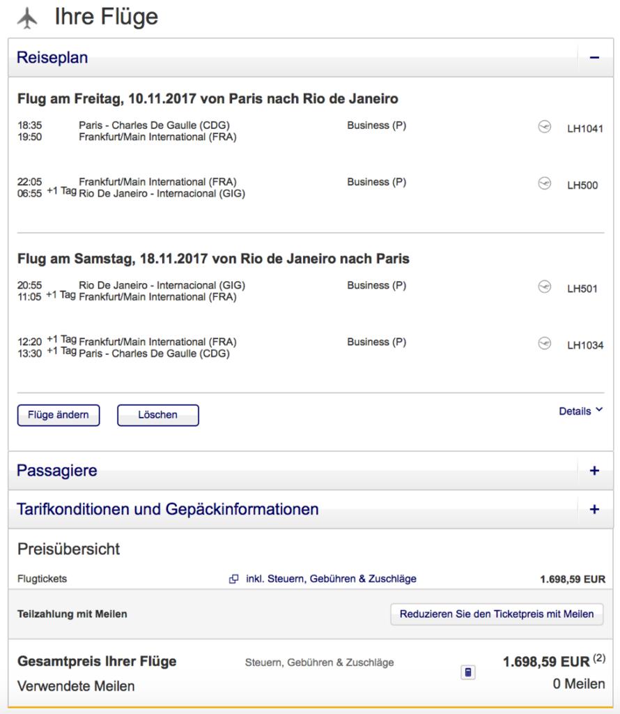 Lufthansa Business Class Angebote ab Paris