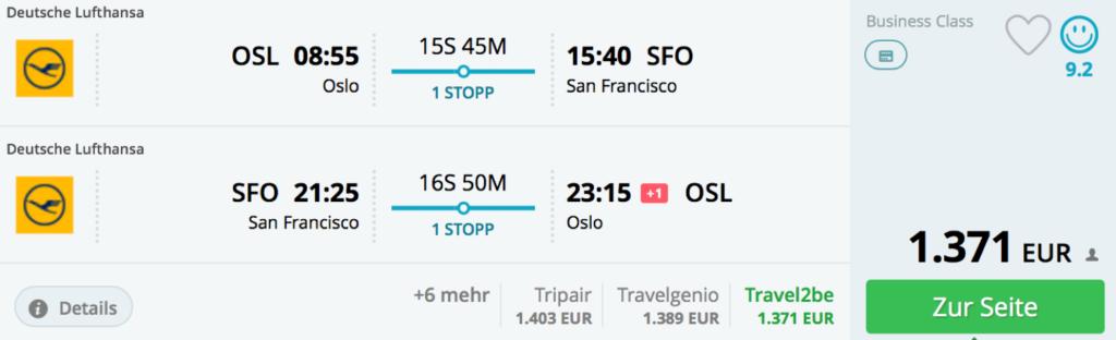 Lufthansa Business Class nach San Francisco