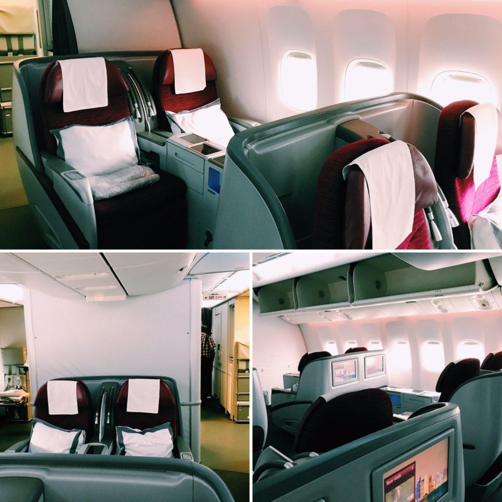 Qatar Airways Boeing 777 Business Class Kabine
