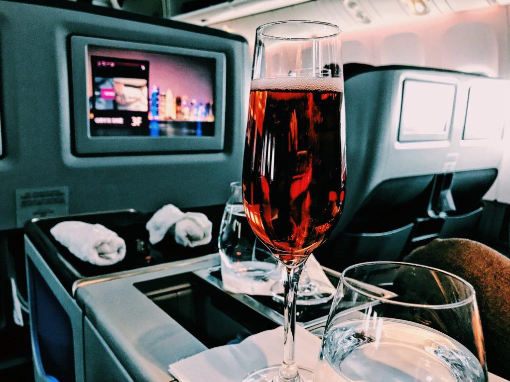 Qatar Airways Boeing 777 Business Class welcome Drink