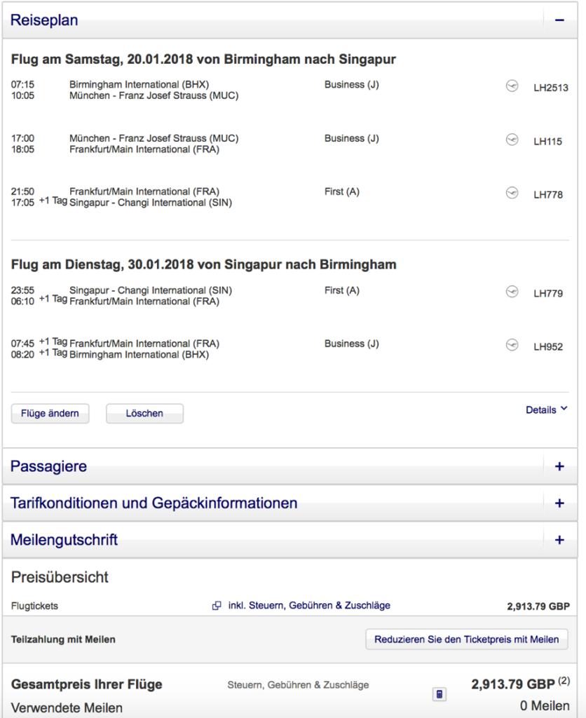 Lufthansa First Class nach Singapur
