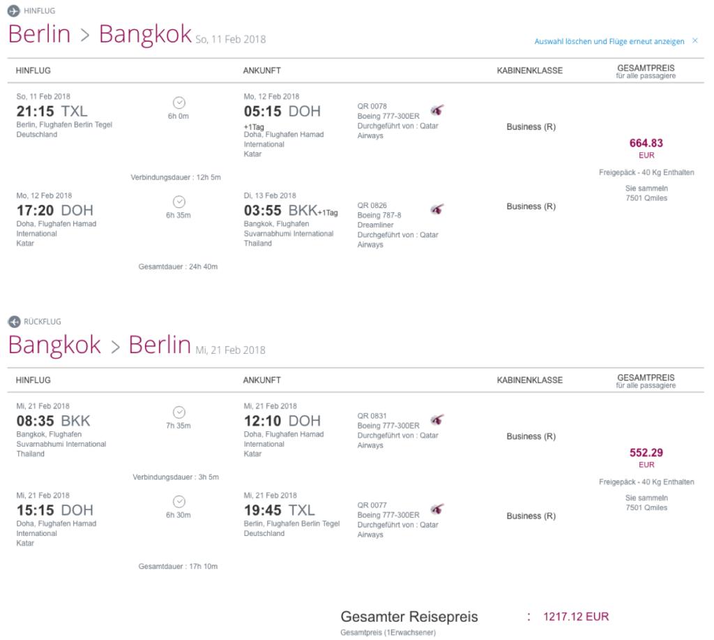 Qatar Airways Business Class günstig buchen