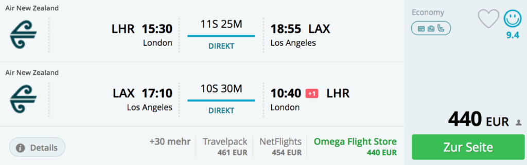 Air New Zealand nach Los Angeles