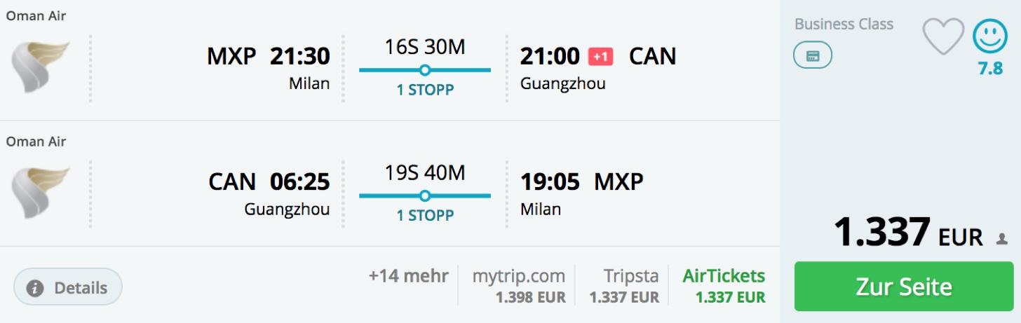 Günstig mit Oman Air nach Asien fliegen