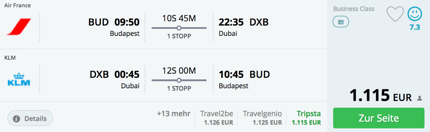 Günstige Business Class Angebote nach Dubai