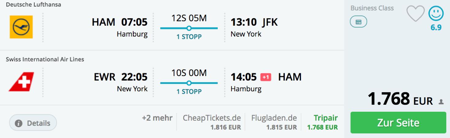 Lufthansa Business Class angebote ab Deutschland