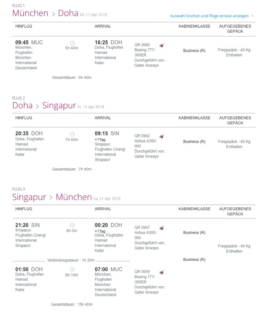 Qatar Airways Stopover Programm Beispiel