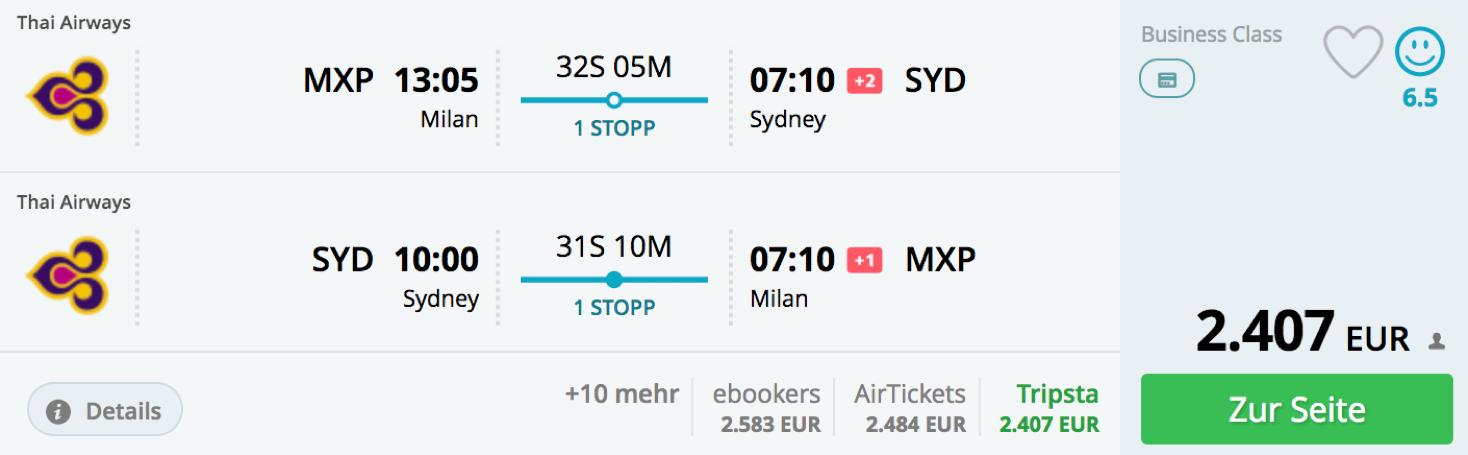 Günstige business Class Flüge nach Australien