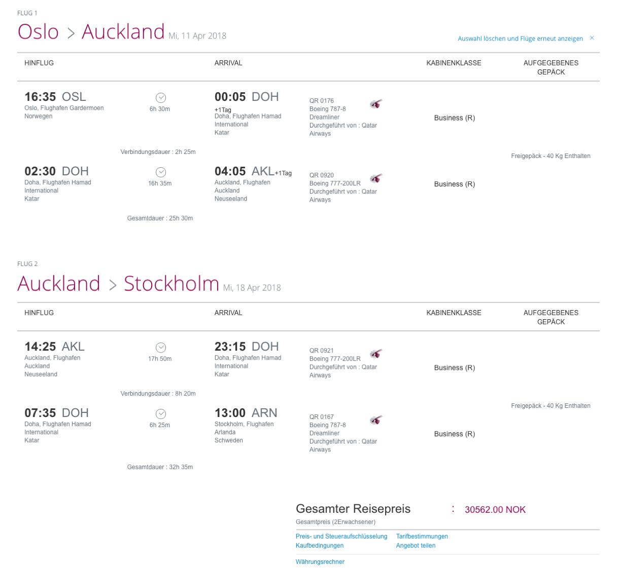 Günstig Business Class nach Neuseeland flegen