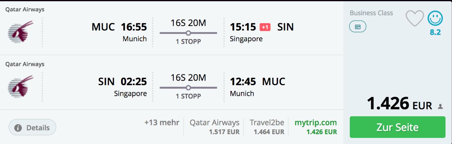Qatar Airways Business Class Angebote ab Deutschland