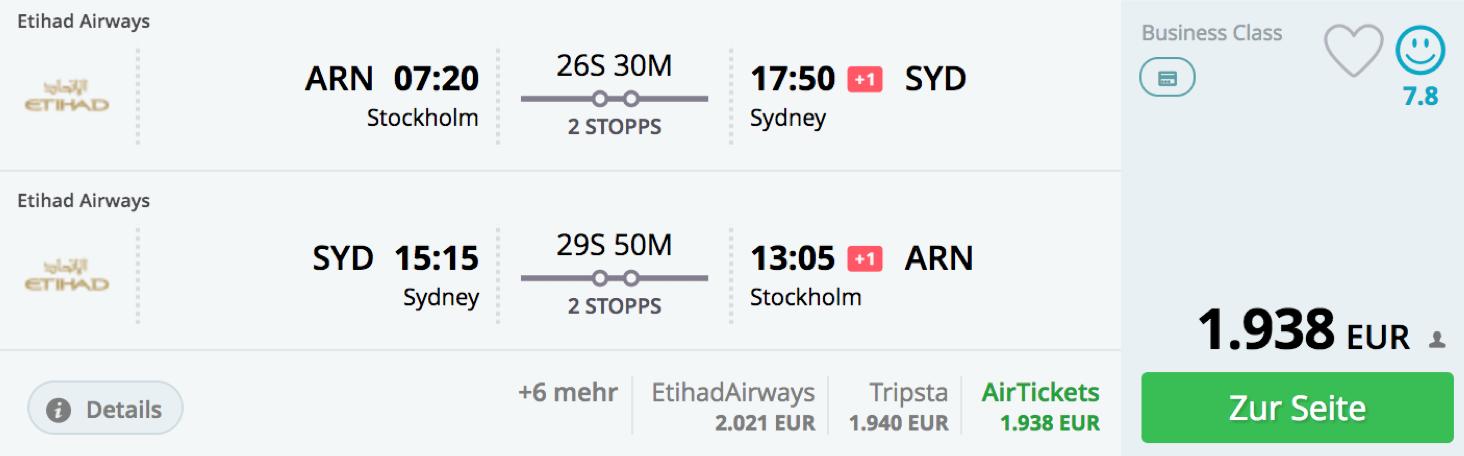 Günstig Etihad Airways Business Class nach Australien fliegen