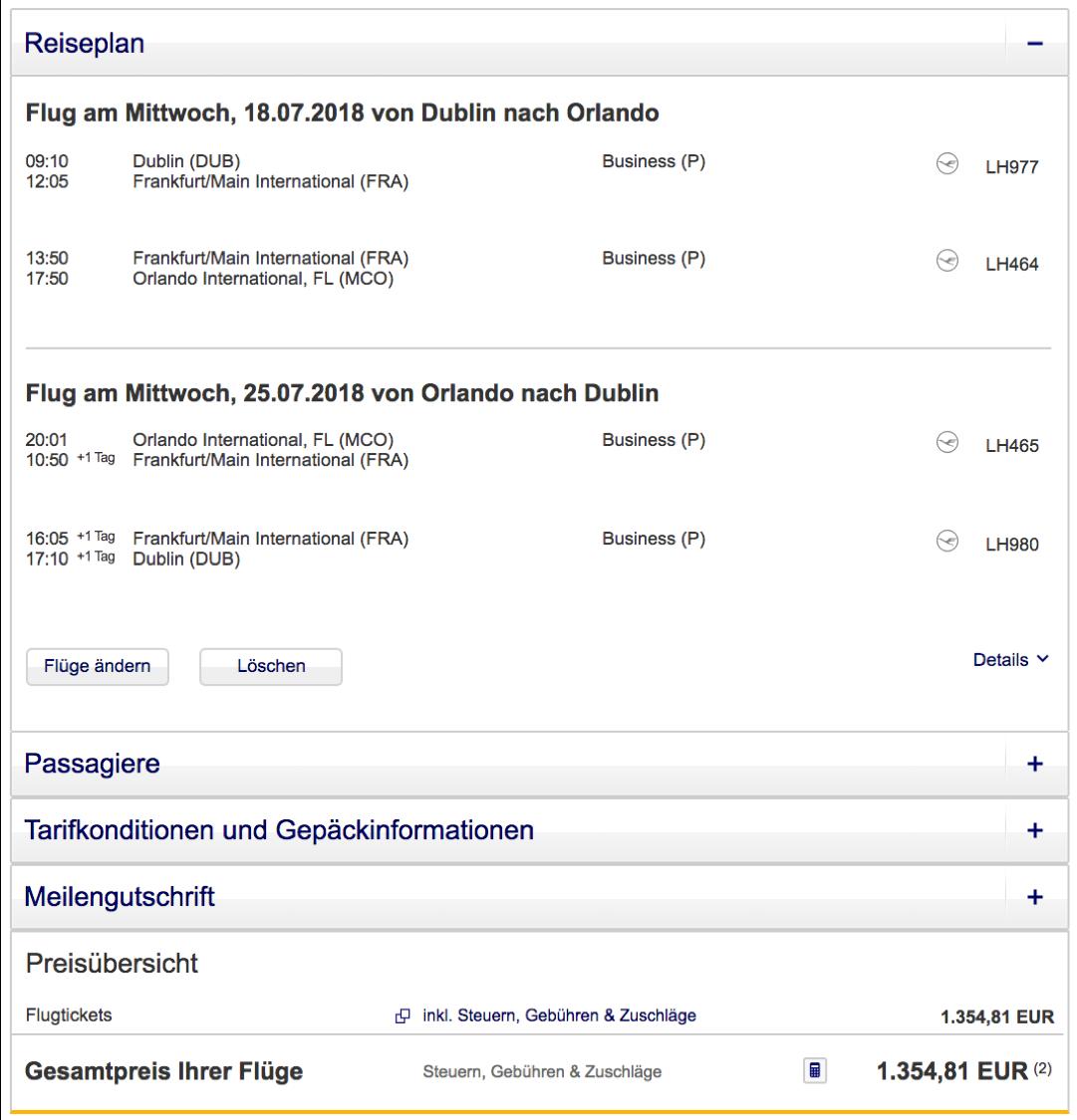 Günstig Lufthansa Business Class nach Florida fliegen