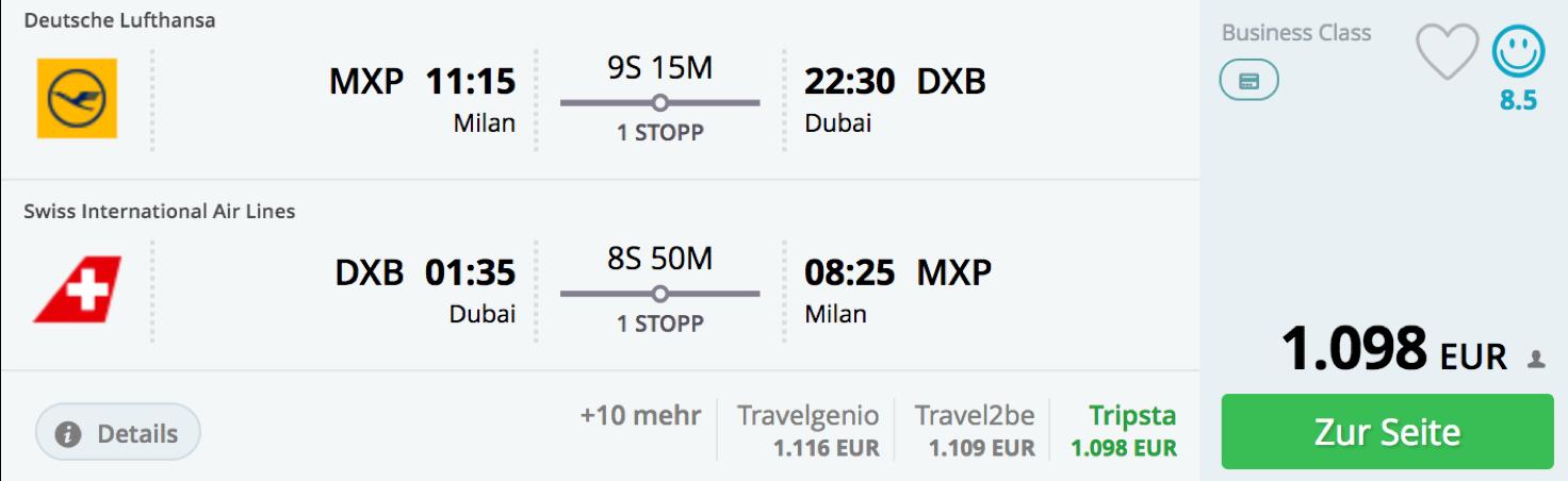 Günstig Lufthansa Business Class nach Dubai fliegen
