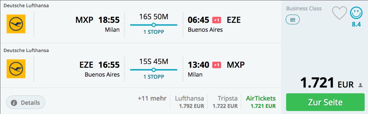 Lufthansa business Class Angebote nach Südamerika