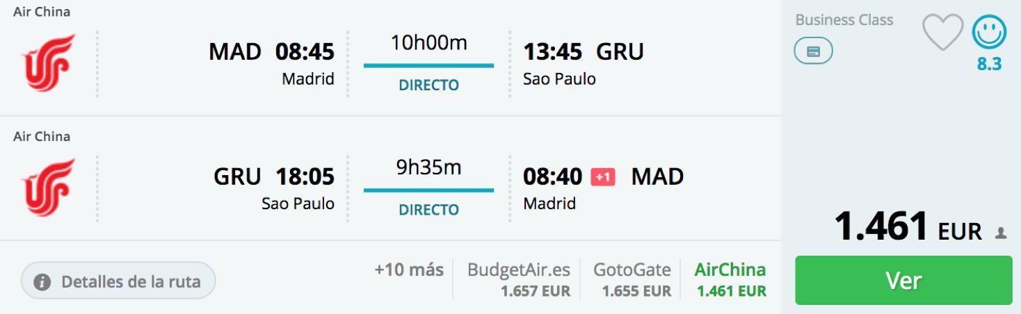 Günstig Business Class nach Sao Paulo fliegen