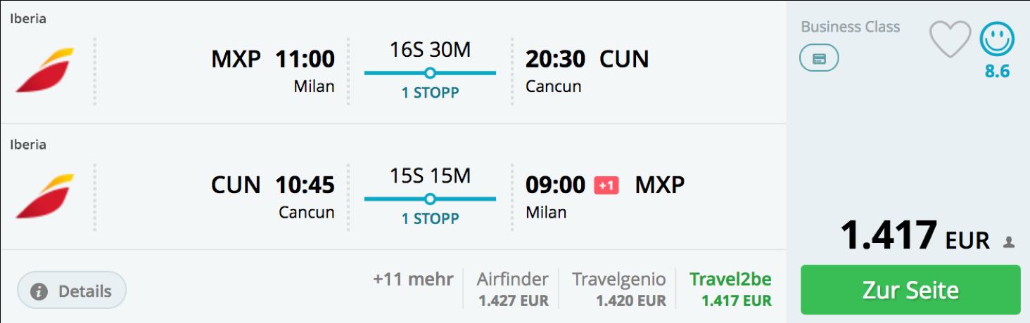 Günstige Business Class Flüge nach MExico