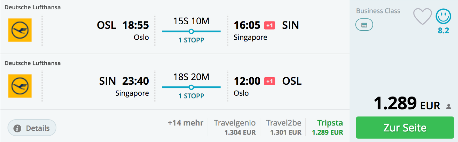 Günstig Lufthansa Business Class nach Singapur fliegen