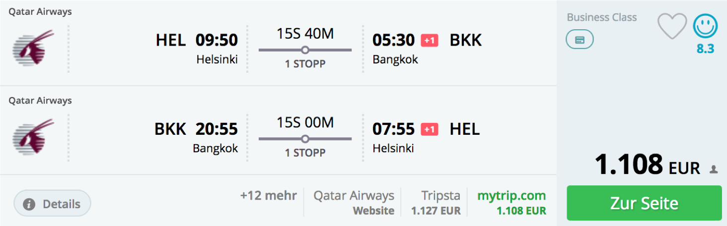 Günstige Qatar Airways Business Class Flüge