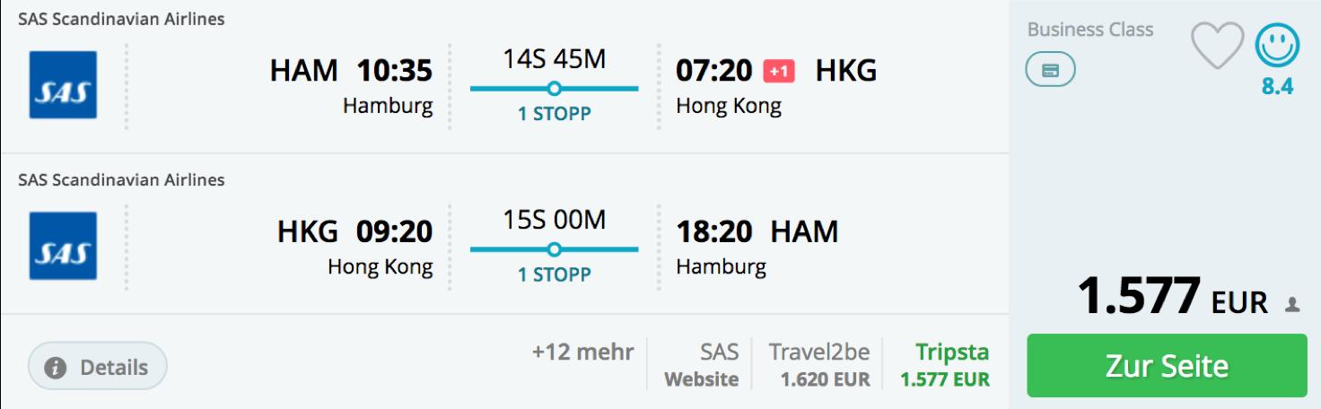Günstig Business Class nach Hongkong fliegen